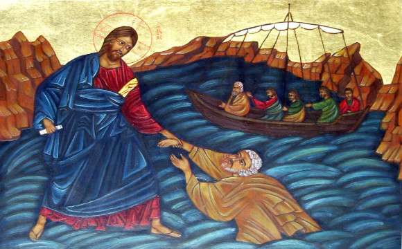 jesus walk on sea icon